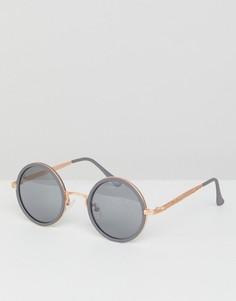 Круглые солнцезащитные очки с золотистой металлической отделкой ASOS - Серый