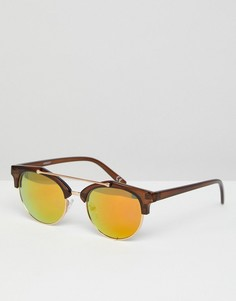 Коричневые солнцезащитные очки в стиле ретро с планкой сверху и золотистыми зеркальными стеклами ASOS - Коричневый