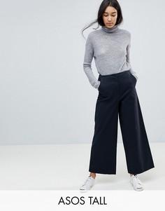 Темно-синие широкие парусиновые брюки ASOS TALL - Синий