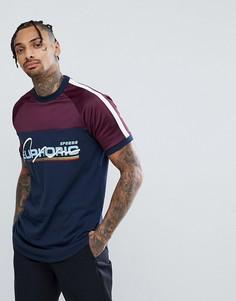 Супердлинная футболка с блестящей кокеткой и принтом ASOS - Темно-синий