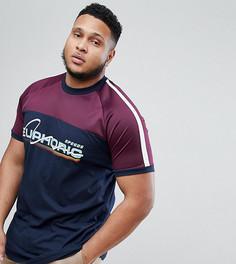 Свободная длинная футболка с принтом Euphoric ASOS PLUS - Темно-синий