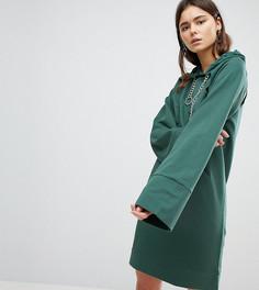 Трикотажное платье мини с капюшоном, вырезами и цепочками ASOS TALL - Зеленый