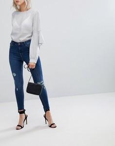 Темные джинсы скинни с рваной отделкой Urban Bliss - Синий