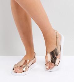 Резиновые сандалии для широкой стопы ASOS FREQUENT - Золотой