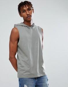 Серая футболка без рукавов с капюшоном ASOS - Зеленый