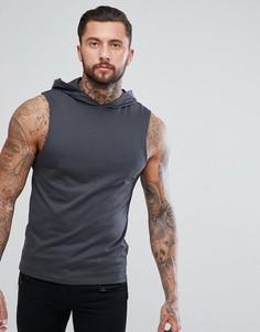 Серая футболка без рукавов с капюшоном ASOS - Черный