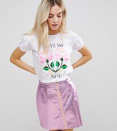 Сатиновая футболка с цветочным принтом Chorus Petite - Белый