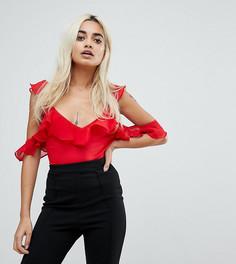 Боди с открытыми плечами и оборками NaaNaa Petite - Красный