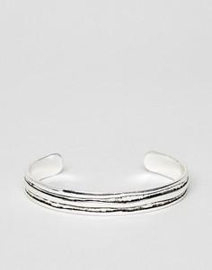 Серебристый браслет-манжет с состаренным эффектом Icon Brand Premium - Серебряный