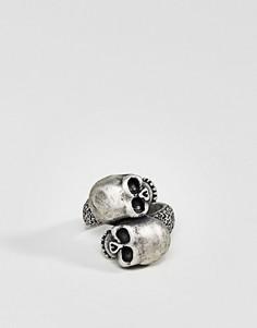Кольцо с черепом Steve Madden - Серебряный