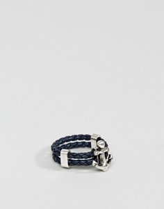 Кожаное кольцо с якорем Steve Madden - Синий