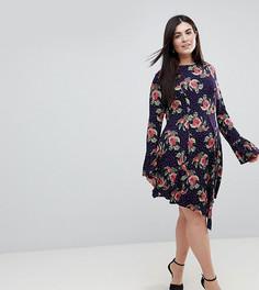 Платье мини в горошек с цветочным принтом и оборками ASOS CURVE - Мульти