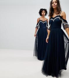 Платье макси из тюля с открытыми плечами и пайетками Maya Petite - Темно-синий