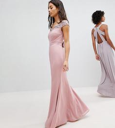 Платье макси с открытыми плечами и пайетками Maya Petite - Розовый