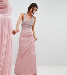 Платье макси с лифом с пайетками и без рукавов, вырезами на спине и бантом Maya Tall - Розовый