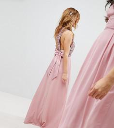 Платье макси с пайетками на лифе, вырезами и бантом на спине Maya Petite - Розовый