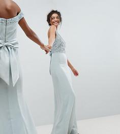 Платье макси с лифом с пайетками и без рукавов, вырезами на спине и бантом Maya Tall - Синий
