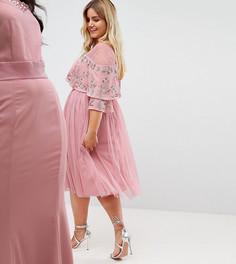 Платье миди с прозрачной отделкой и кейпом Maya Plus - Розовый