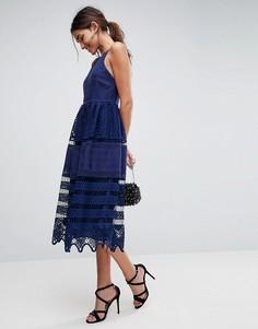 Кружевное платье миди ASOS PREMIUM - Темно-синий