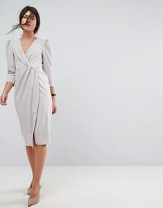 Платье миди с запахом ASOS - Серебряный