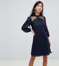 Приталенное платье с высоким воротом Elise Ryan Petite - Темно-синий