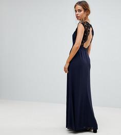 Платье макси с кружевной вставкой на спине и вырезом Elise Ryan Petite - Темно-синий