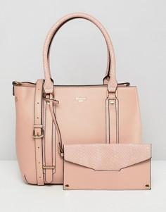 Розовая сумка-тоут со съемным кошельком Dune Dylier - Розовый
