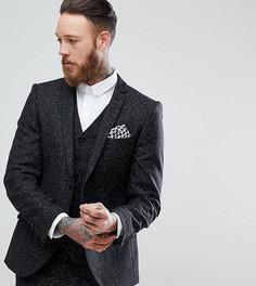 Приталенный пиджак из твида в крапинку с узором в елочку Heart & Dagger - Серый