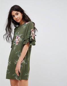 Платье с цветочным принтом и рукавами клеш Parisian - Зеленый