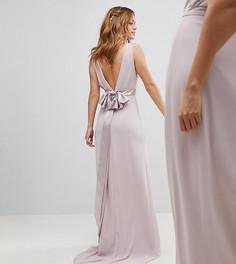 Сатиновое платье макси с бантом сзади TFNC Petite WEDDING - Коричневый