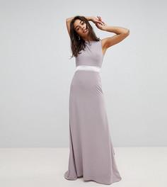 Сатиновое платье макси с бантом сзади TFNC Petite WEDDING - Серый