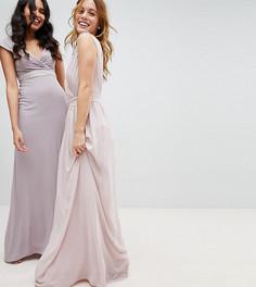 Платье макси с запахом TFNC Petite WEDDING - Коричневый