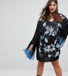Платье с длинными рукавами и вышивкой ASOS CURVE PREMIUM - Мульти
