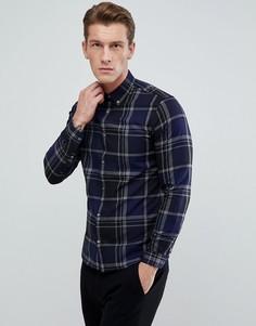 Облегающая рубашка в клетку Jack & Jones - Темно-синий