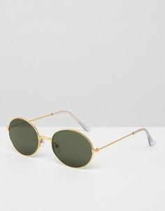 Солнцезащитные очки в золотистой оправе в стиле 90-х ASOS - Золотой