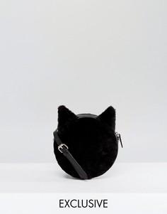 Сумка через плечо из искусственного меха Monki - Черный