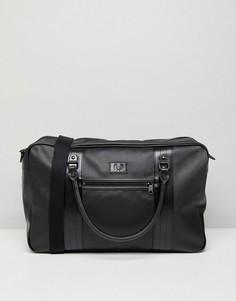Черная дорожная сумка из сафьяна Fred Perry - Черный