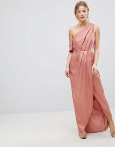 Атласное платье макси на одно плечо ASOS - Медный