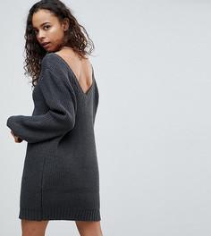 Платье мини крупной вязки с V-образным вырезом на спине ASOS PETITE - Серый