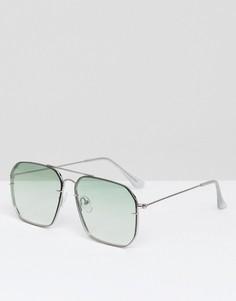 Солнцезащитные очки-авиаторы с бледно-зелеными стеклами деграде ASOS - Серебряный