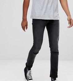 Черные выбеленные джинсы скинни с рваной отделкой ASOS TALL - Черный