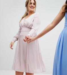 Платье миди с длинными рукавами и плиссированной юбкой TFNC Plus WEDDING - Коричневый