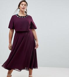 Приталенное платье миди с кроп-топом и 3D-отделкой ASOS CURVE - Красный