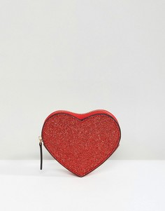 Блестящий кошелек для мелочи в форме сердца ASOS Valentines - Красный
