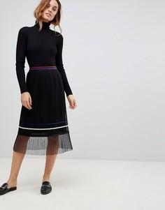 Плиссированная юбка миди с полупрозрачной вставкой Sisley - Черный