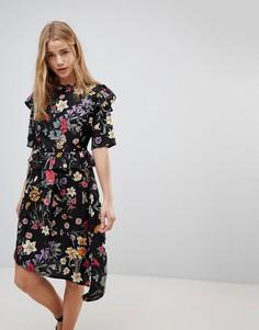 Асимметричное платье миди с цветочным принтом и заклепками на ремне Influence - Мульти