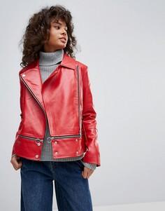Байкерская куртка из искусственной кожи с молнией Neon Rose - Красный