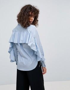 Рубашка с оборками на спине Neon Rose - Синий