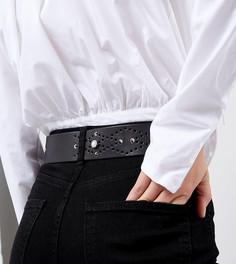 Черный кожаный ремень с искусственным жемчугом и заклепками Retro Luxe London - Черный