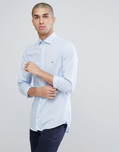 Голубая рубашка узкого кроя с логотипом-флажком Tommy Hilfiger - Синий